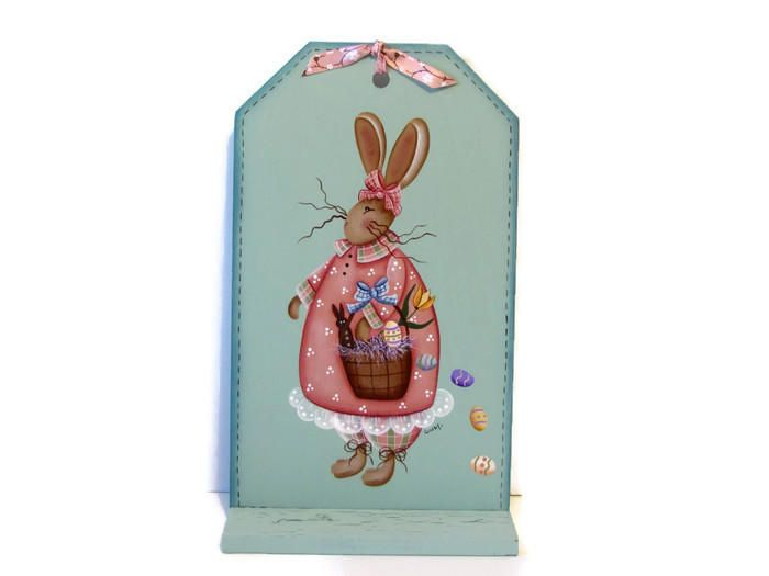 Primitive Bunny with Basket, Handpainted Large Wood Tag, Hand Painted Prim Decor Wall Art or Shelf Sitter, Tole Decorative Painting by ToleTreasures on Etsy