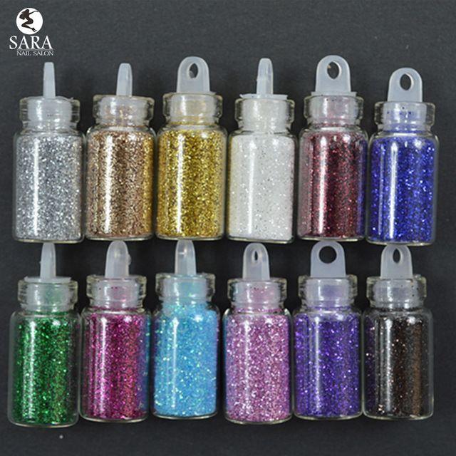 Сара Маникюрный Салон 12 цвета/устанавливает 3D Nail Art Пыль Акриловые Блеск Ногтей Порошок Ногтей Блеск Пыли Порошок Для Ногтей NC322