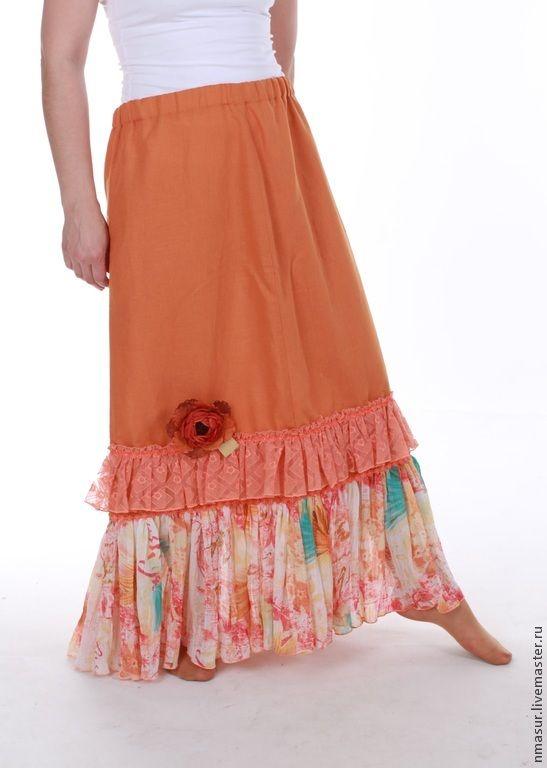 """Купить Льняная Юбка """"Горчичка"""" - оранжевый, юбка, юбка в пол, юбка длинная, юбка макси"""