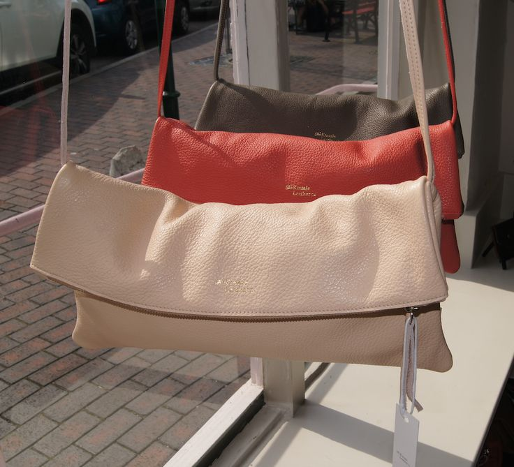 Nude, Coral and Taupe. Jamie foldover clutch with detachable strap.
