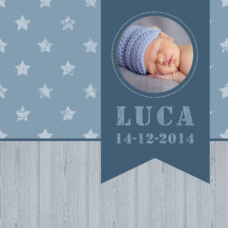 Geboortekaartje Luca - www.babyjewels-geboortekaarten.nl