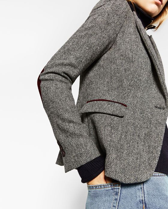 Image 4 of HERRINGBONE BLAZER WITH ELBOW PATCHES from Zara