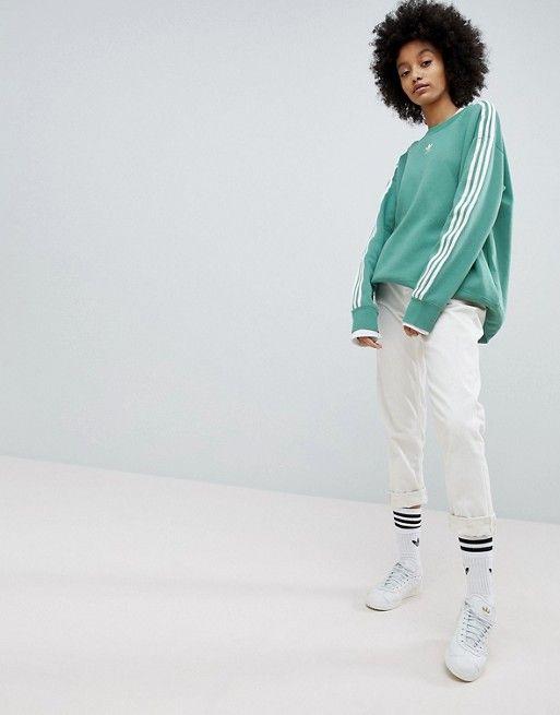 ceab18a4b5c0 adidas Originals adicolor Three Stripe Sweatshirt In Green