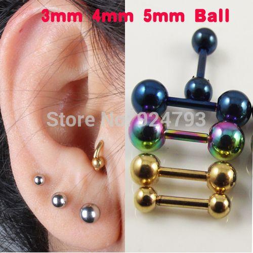 2 pezzo In Acciaio Inox Sfera Barbell Ear Piercing Nero Argento Oro Cartilagine Trago Orecchino Anello Gioielli Per Le Donne Degli Uomini