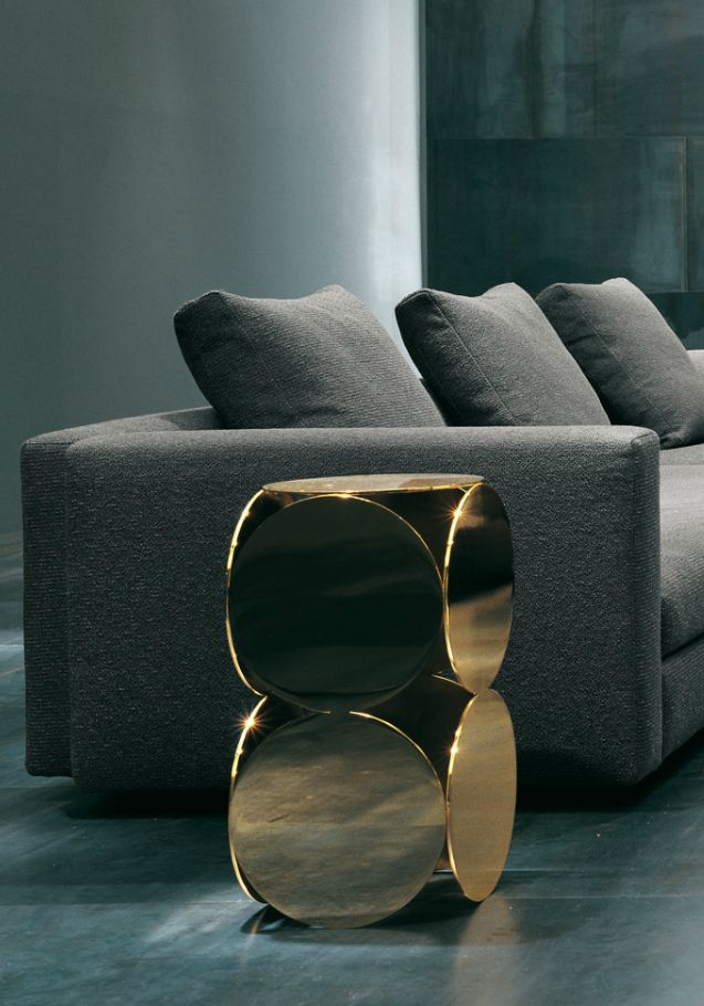 Gold Cube Side Tables   Look Great Next To The Contemporary Grey Sofa.