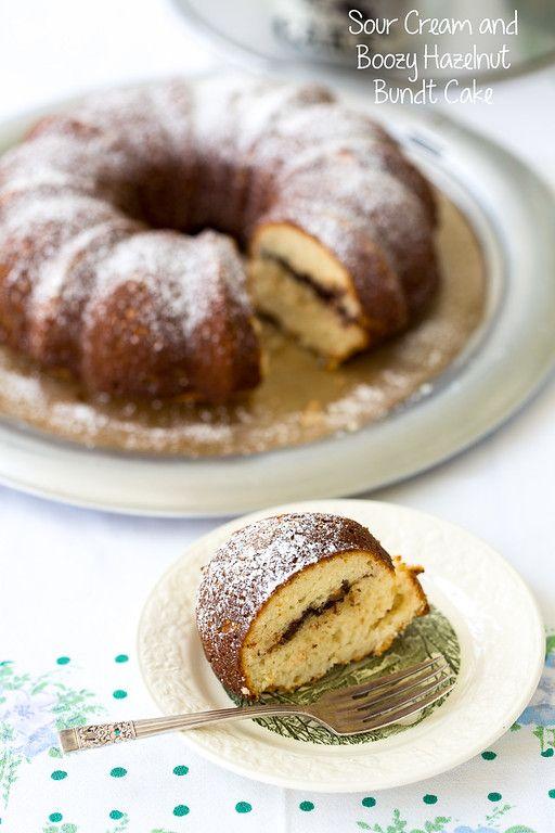 Sour Cream Boozy Hazelnuts Bundt Cake