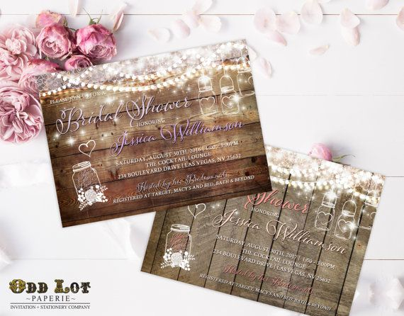 This rustic bridal shower invitation features a woodgrain background with a mason jar hanging from twinkling lights and white lace. A floral filled mason jar towards the bottom reads save the date inside. Your party text uses contemporary fonts and styling, as well as a beautiful