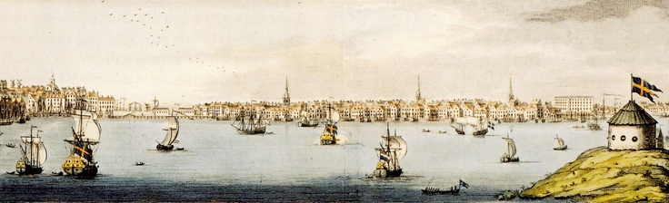 Stockholm. View of Gamla stan (The Old City) and Skeppsbron from Kastellholmen.  Date:	1725  Source: 	Stockholms stadsmuseum.  Carl Michael Bellman, his life: http://www.kirjasto.sci.fi/bellman.htm