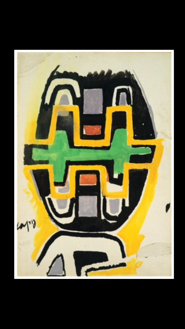 "Giuseppe Capogrossi - "" Superficie G. 75 "", 1958 - Tempera on paper laid on canvas - 50 x 34,5 cm"