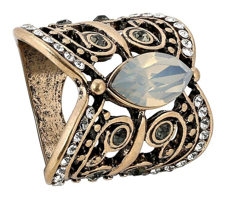 - Ring    - Antikroségoldfarben    - Glaskristallsteine in Grau und Weiß    - Facettierter Acryl-Stein    Maße:   individuell    Breite:   0,5-2,7 cm