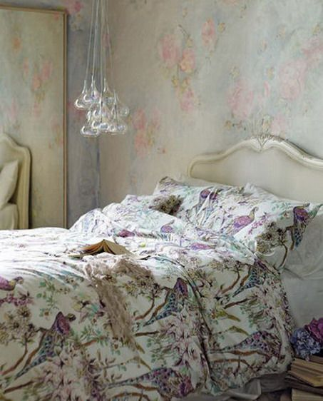 Abstract Purple Bed Covers and Flowers Wallpaper Decoration in Small Modern Bedroom Design Ideas Modern Bedroom Decor for Every Modern House...