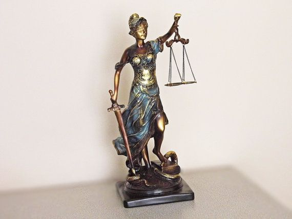 Lady justice figurine, balance scales of justice, lady of justice. Themis Maat Dike. Law office decor, Gift for lawyer, judge