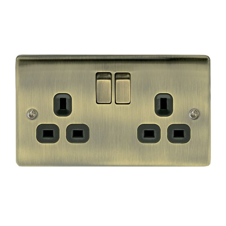 Antique Brass Low Profile 13A 2 Gang Switched Socket