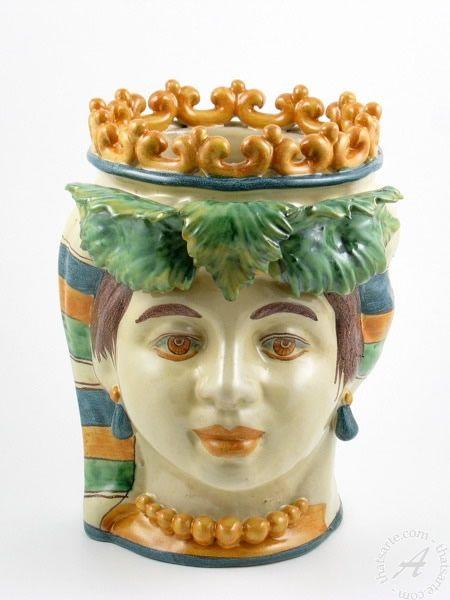Italian ceramics lady head planter vase with crown   Caltagirone Italian pottery by Giacomo Alessi: Lady head planter vase with crown