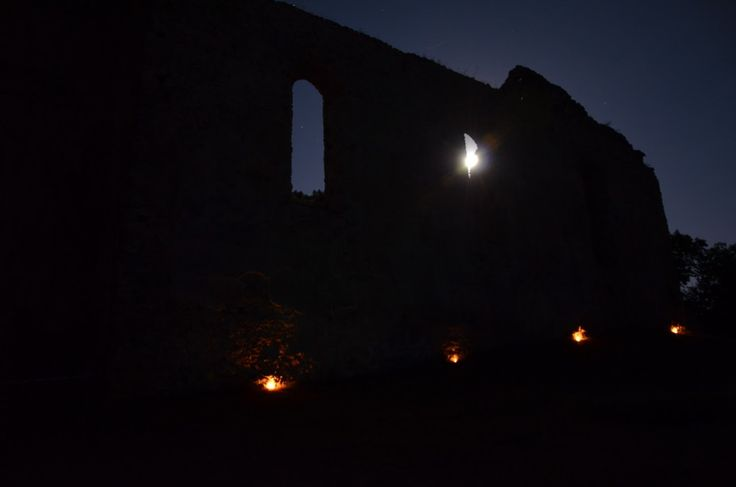 ruins of church and monastery Katarínka at night (Slovakia)