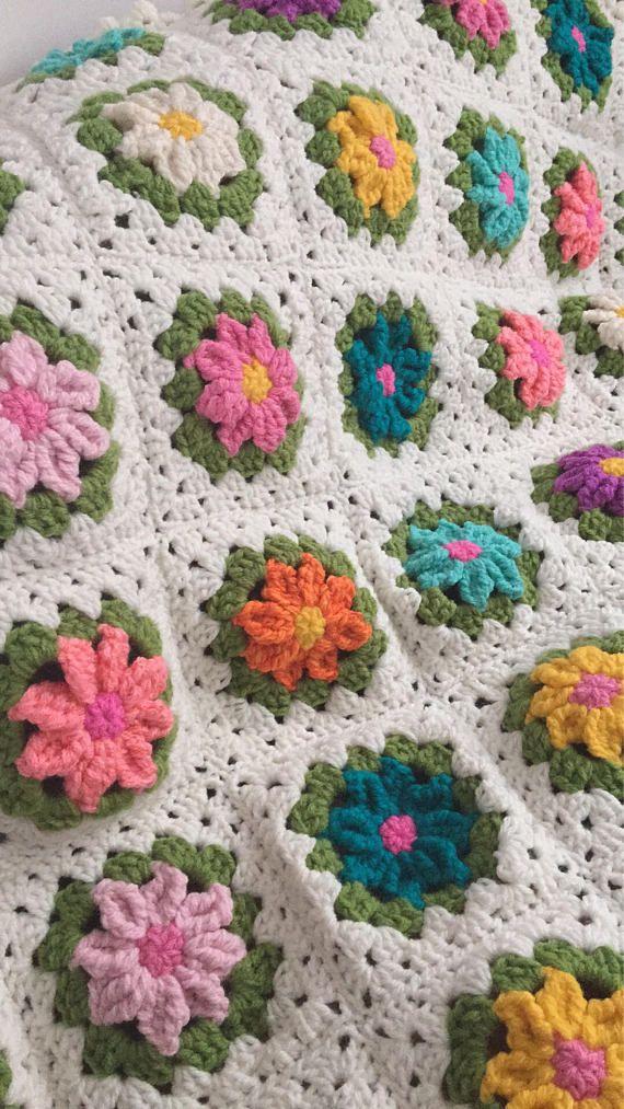 Granny square blanket Wool Flower Afghan Throw Boho