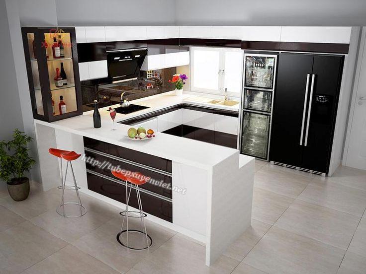 Tủ bếp đẹp có bàn bar và tủ rượu nhà anh Khánh - Lào Cai