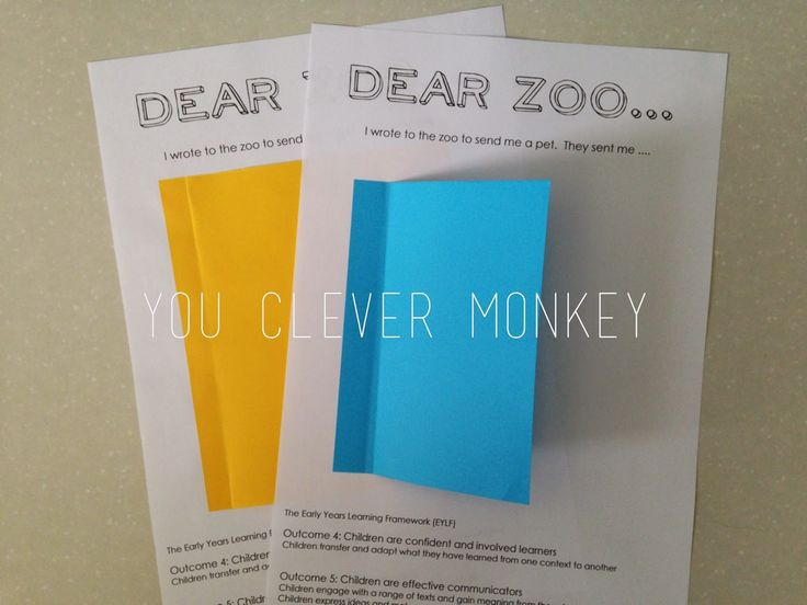 Dear Zoo - a unit of work for preschoolers #youclevermonkey