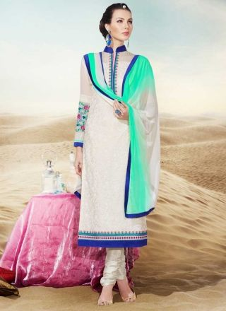 Outstanding Off White Neck Embroidery Georgette Churidar  Suit http://www.angelnx.com/Salwar-Kameez/Churidar-Suits