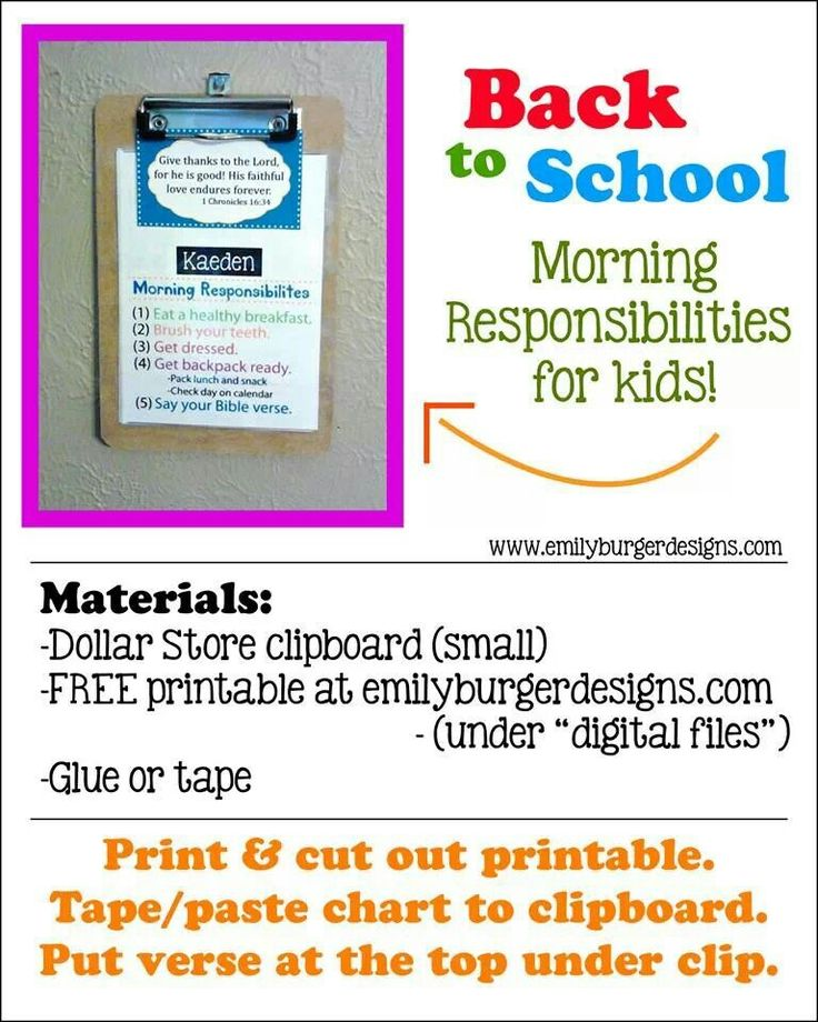 Back To School Morning Responsibilities Home Sweet Home Pinterest