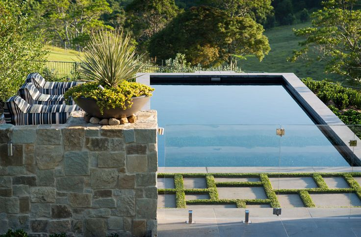 We love the dark reflective colour of the pool