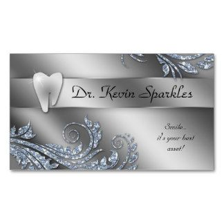 Dentist Business Card Silver Sparkle Leaf Tooth