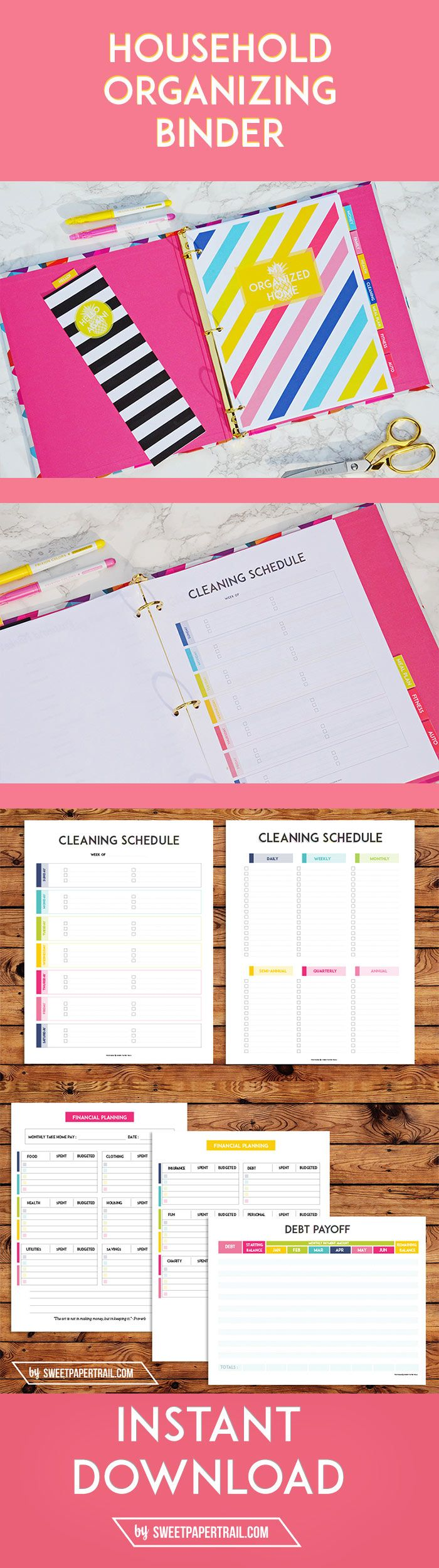 Everything to get your household organized. From Cleaning Lists, to Budget Planning. These Premium, high-quality printables are available as an Instant download. Here is what is included: Total of 29 printables – 40 pages NO FLUFF OR UNNECESSARY PAGES! ONLY HIGH QUALITY VIBRANT & COLORFUL PDF'S