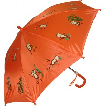 KIDS:  Kids Foxfire Lil Monkeys Umbrella  This adorable umbrella features monkeys swinging all over on an orange background. Steel shaft and frame, curved plastic handle, rounded plastic tips and pinch-proof runner for safety. Manual opening and closing.    CAD $20.00    http://www.raindropsto.com/umbrellas/kids-umbrellas/kids-foxfire-lil-monkeys-umbrella