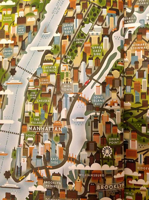 Illustrated Map of New York City.