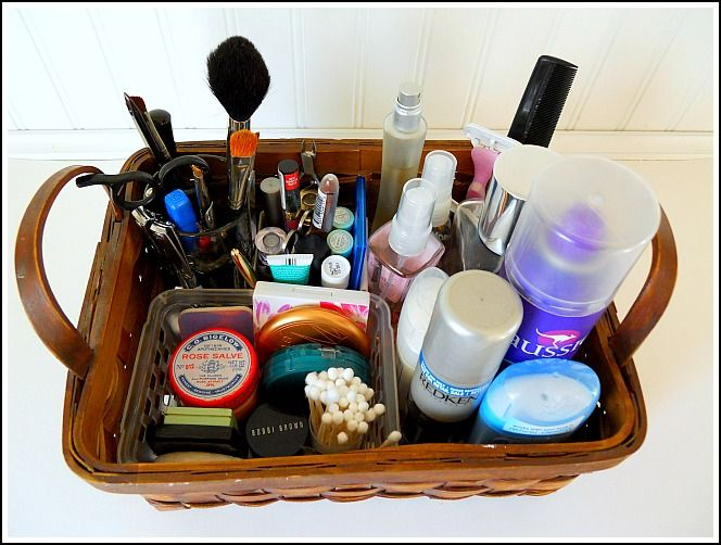 Corral Bathroom Clutter And Keep Your Counter Tops Tidy. A Simple Basket  Does The Job.