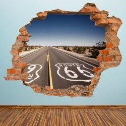 3D Route 66 Vinyl Wall Sticker