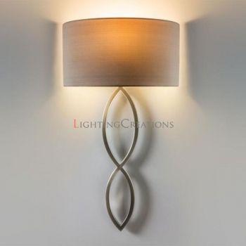 Caserta Matt nickel Wall Light With Oyster Fabric Shade