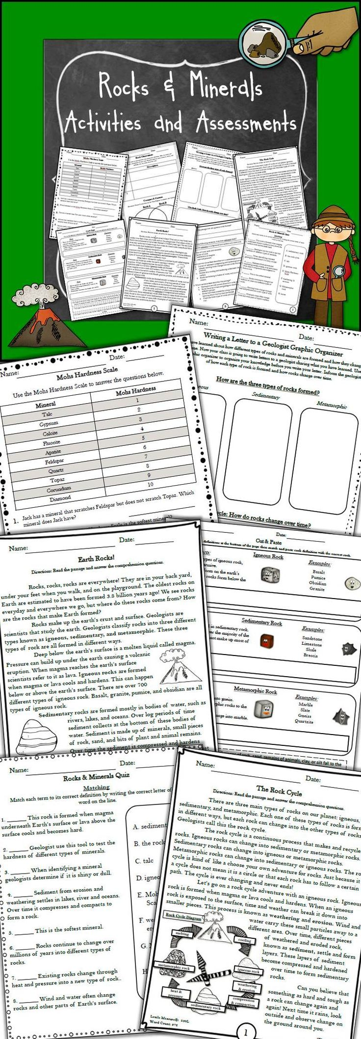 Rocks and Minerals Non-Fiction Passages and Assessments Bundle! Rocks & Minerals and literacy integration! This bundle is a great addition to any rocks and minerals unit. It includes a variety of non-fiction reading passage and multiple assessments on igneous, sedimentary, metamorphic rocks, the rock cycle, and so much more. Students will learn about rocks and minerals while reading comprehension passages and practicing writing skills.