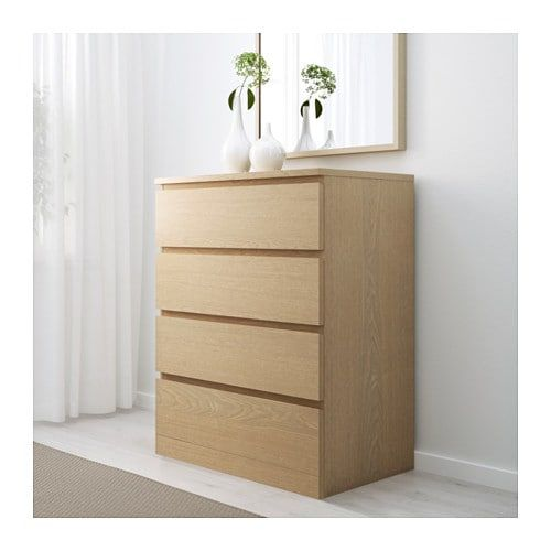 MALM white stained oak veneer, Chest of
