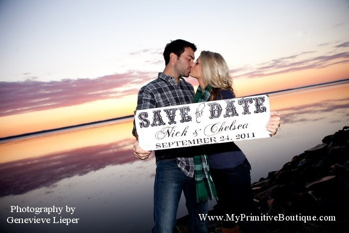 SAVE THE DATE sign, Engagement Photo Prop, Photograpy Props, Wedding Sign. $44.00, via Etsy.