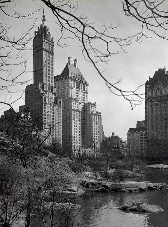 Sherry Netherland Hotel and Plaza Hotel from Central Park (1928)