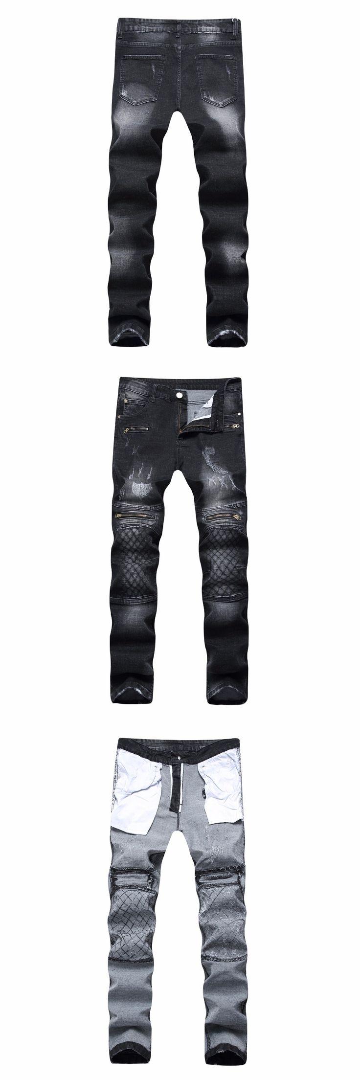 2018 New Men's Ripped Pencil Stretch Moto Jeans Holes Slim Fit Long Skinny Cotton Punk Biker Mens Skinny Black Plus Size Pants