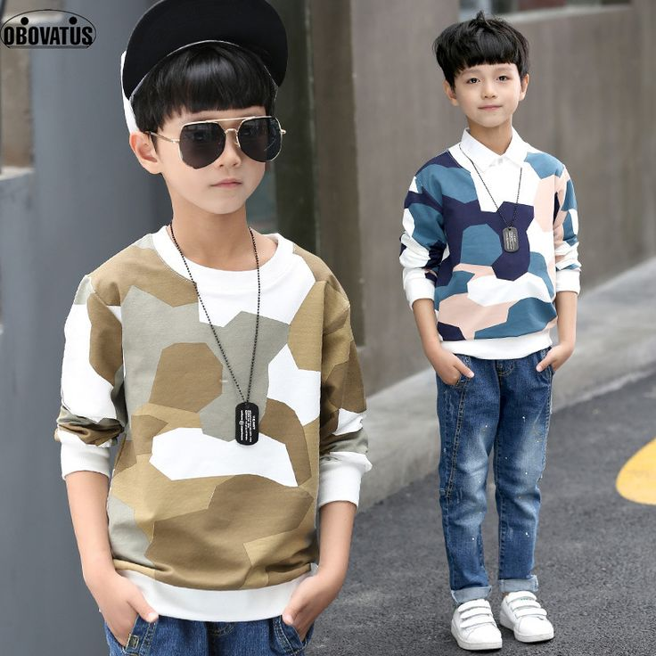 OBOVATUS boys autumn camouflage Tshirts school uniform shirt boys t shirt long sleeve cotton clothes for 4 6 8 10 12 14 years //Price: $ //     #baby