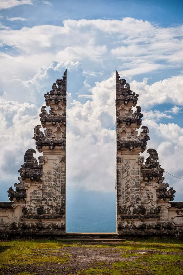 Pura Lempuyang Door, Bali, Indonesia: 'Puras are open air places of worship within enclosed walls, connected by a series of intricately decorated gates between compounds. This is a split gate, known as a 'candi bentar.'