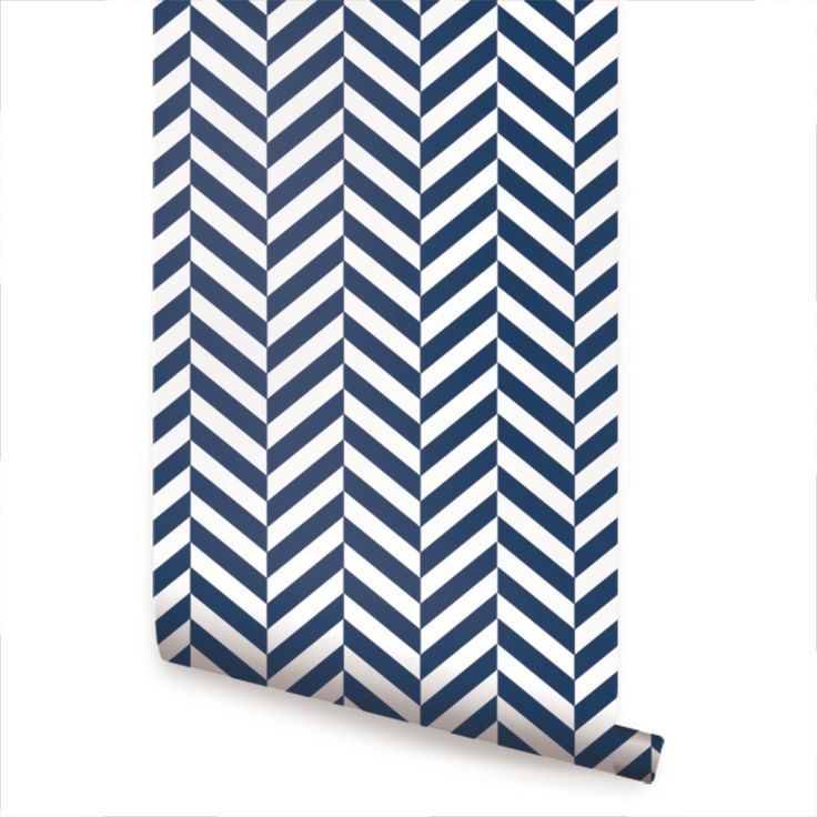 Herringbone Solid Wallpaper Navy Peel and Stick