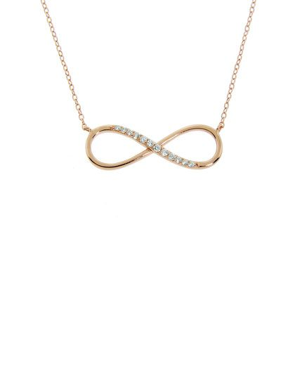 Rose Gold Pave Infinity Necklace - JewelMint