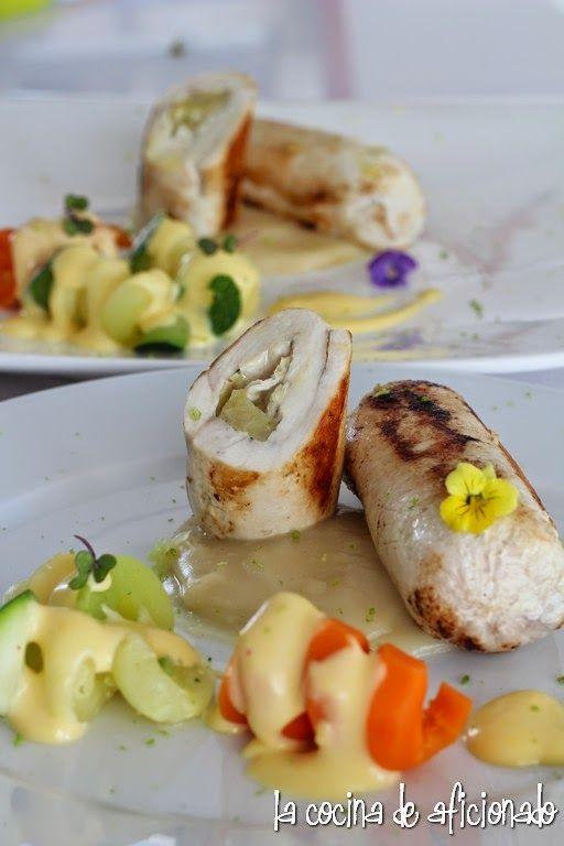 la cocina de aficionado: Rollitos de pollo relleno de queso de cabra y manzana