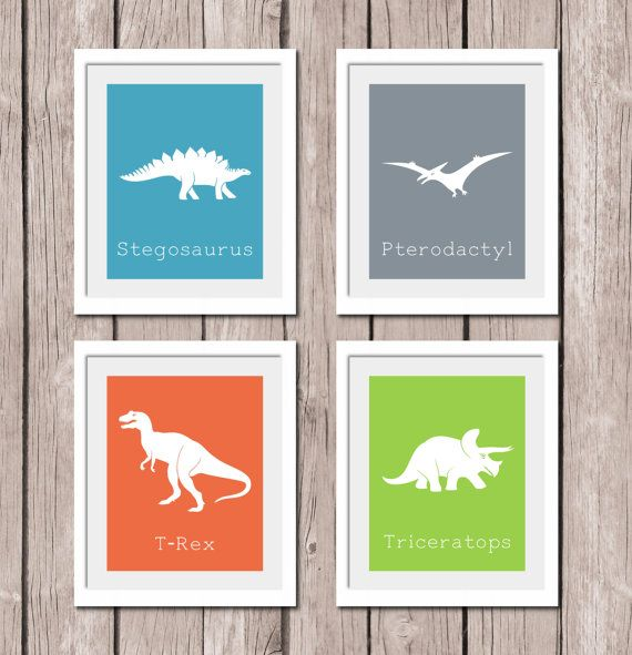 "INSTANT DOWNLOAD - Set of 4 Dinosaurs - Printable Wall Art Print 8""x10"" (jpeg file) Nursery Bedroom Decor"