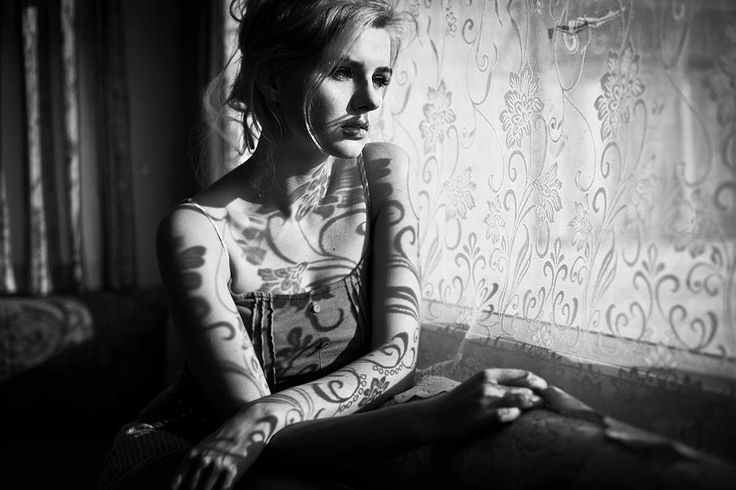 black & white portrait of woman