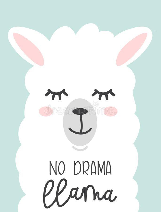 No Drama Llama Cute Card With Cartoon Llama No Probllama