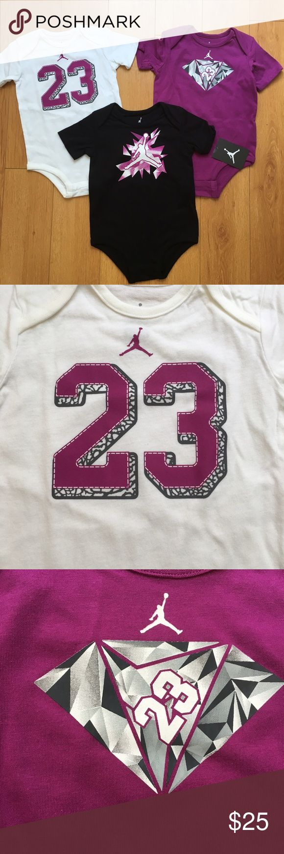 NWT Nike Jordan 3-Piece Infant Bodysuits BRAND NEW Nike Jordan 3-Piece Baby Bodysuits.  🔹Soft 100% Cotton fabric 🔹White, Purple, Black with Screen Printed designs on front 🔹Bottom snaps for easy diaper changes 🔹These are sold as a set, not individually 🔹MSRP $44  👍🏻Top Rated Seller 👍🏻Fast Shipper 🚫No Trades  Instagram: @effortless_beauty_boutique Jordan One Pieces Bodysuits