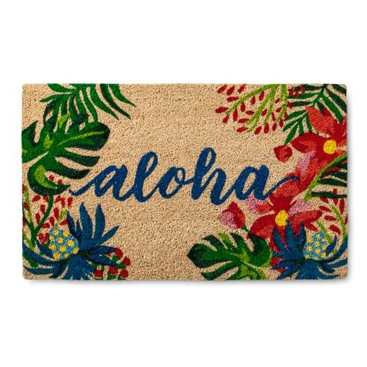 """You don't have to live in Hawaii to greet guests with the Blue Botanical Accent Rug in (1'6""""X2'6""""). This aloha welcome mat is decorated with lush tropical foliage in brilliant colors."""