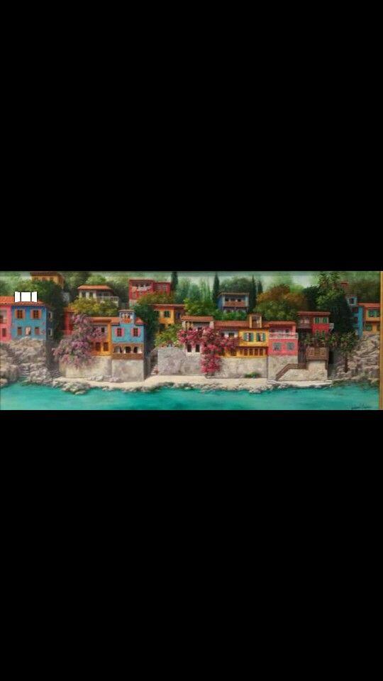 Oil painting#flowers#lace curtains#turkish houses#doors#villages#windows#sea#trees#artist Günseli kapucu