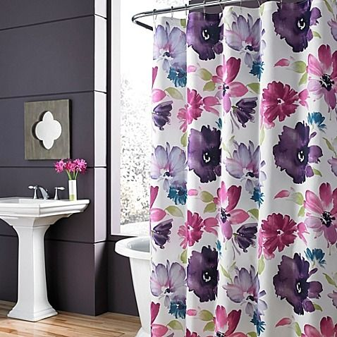 Add a burst of color to your bath with the lovely Midori Shower Curtain. Featuring an oversized floral print in a brilliant color palette that includes fuchsia, lavender, and teal, this bold, beautiful shower curtain will enliven any space.
