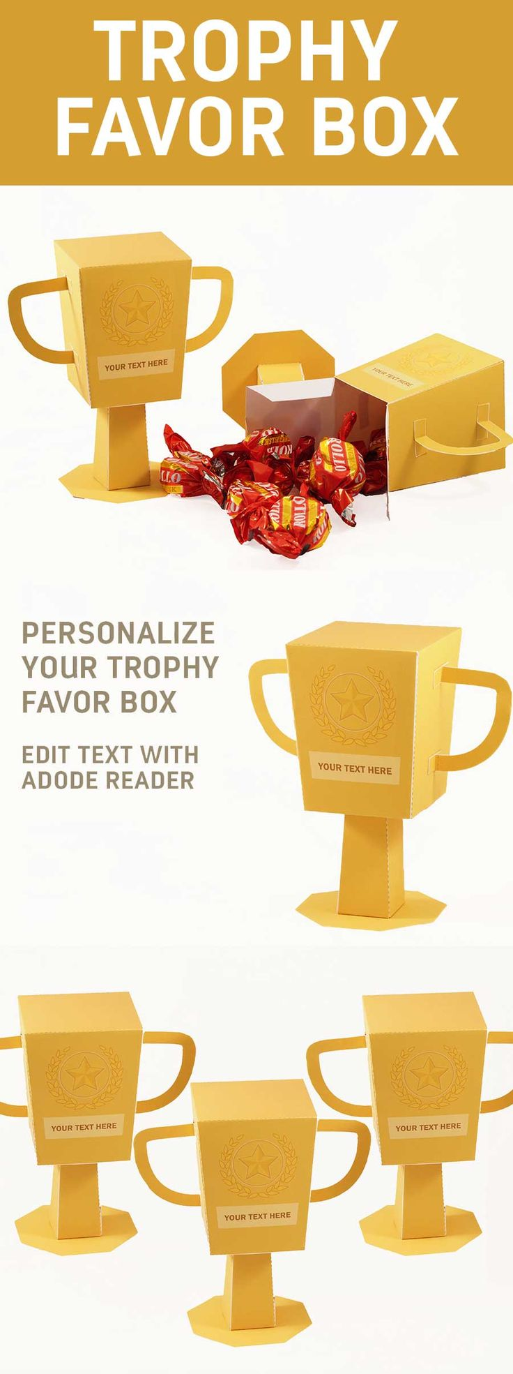 Create a Trophy Favor Box. Easy Paper Craft